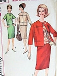 1960s Classy 3 Pc Suit Pattern Simplicity 5144 Slim Skirt, Button Back Overblouse, Boxy Jacket Very Jackie Kennedy Style Bust  36 Vintage Sewing Pattern