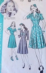 1940s  Princess Dress Pattern Hollywood 1127 Features Starlet Bonita Granville Cute Figure Flattering Dress Button Side Closing  Bust 34 Vintage Sewing Pattern