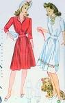 1940s Cute Dress Pattern Simplicity 4203 WW II Era Pretty 2 Neckline Styles Easy To Sew  Bust 30 Vintage Sewing Pattern
