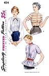 1950s Blouse and Overblouse Pattern Simplicity 4114 Three Style Versions Versatile Blouses  Bust 30 Vintage Sewing Pattern FACTORY FOLDED