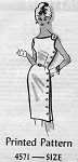 1960s Slim Sheath Dress Pattern Mail Order 4571  Single Shoulder Side Button Wiggle Dress  Bust 32 Vintage Sewing Pattern FACTORY FOLDED