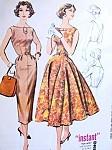 1950s Slim or Full Skirt Dress Pattern McCalls 4364 Stunning Keyhole Neckline Version Low V or Regular Back Daytime or Evening Bust 32  Vintage Sewing Pattern FACTORY FOLDED