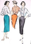 1950s Pencil Skirt and Blouse Pattern Advance 8473 Three Style Versions, Lovely Back Pleated Blouse Easy To Sew Bust 34 Vintage Sewing Pattern FACTORY FOLDED