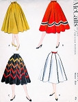 1950s Lovely Full Skirt Pattern McCall's 3090 Figure Flattering Style Waist 26 Vintage Sewing Pattern