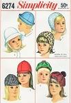 60s Little Girls Mod Hats Pattern Simplicity 6274 Cute Kawaii 4 Styles Hat Size 21- 3/4 Vintage Sewing Pattern