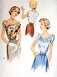 1940s Pretty Sleeveless Blouse Pattern McCall 7672 Three Style Versions Easy To Sew Bust 30 Vintage Sewing Pattern FACTORY FOLDED