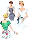 1950 Beautiful Evening Blouse Pattern McCall 8299 Sweetheart Neckline Puff Sleeves Fitted Bodice Bust 34 Vintage Sewing pattern