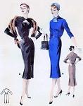 1950s Slim KEYHOLE Neckline Dress Pattern Butterick 7548 Striking Cocktail Evening  or Day Dress Version Beautiful Design Details Bust 34 Vintage Sewing Pattern