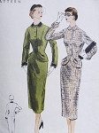 1950s Lovely Suit Pattern Vogue 3533 Slim Pencil Skirt Figure Flattering Fitted Curved Front Jacket Bust 29.5 Vintage Sewing Pattern FACTORY FOLDED