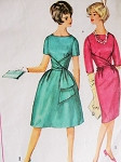 Early 60s Beautiful Cocktail Evening Dress Pattern Simplicity 4230 Two Unique Styles Slim or Flared Skirt Dress Bust 32 Vintage Sewing Pattern