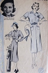1930s Tailored Dress Pattern Hollywood 1526 Featuring Claire Trevor Stylish Dress Bust 32 Vintage Sewing Pattern
