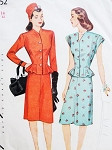 1940s Lovely  2 Pc Peplum Dress Pattern Simplicity 1252 Suit or Dress Flirty Evening or Daytime Bust 32 Vintage Sewing Pattern