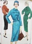 1950s Unique Suit Pattern Simplicity 2214 Bomber Style Blouson Back Jacket Pencil Slim Skirt Bust 32 Vintage Sewing Pattern FACTORY FOLDED