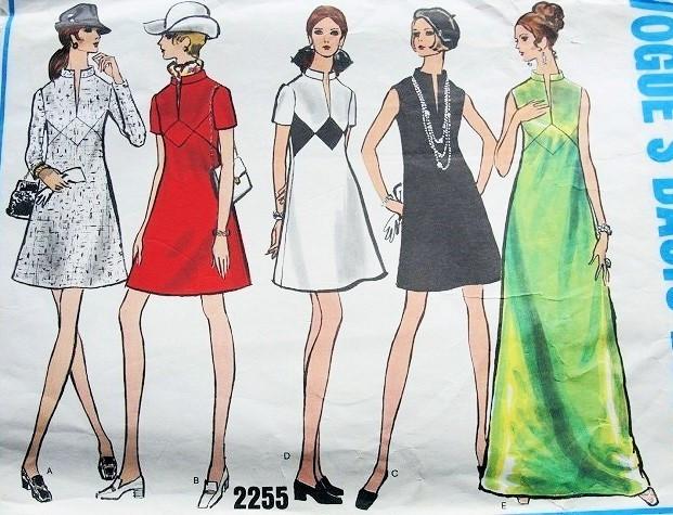 1960s Mod Dress Pattern Vogue Basic Design 2255 Mini Or Maxi Dress 5 Style Versions Low Slit Neckline Bust 34 Vintage Sewing Pattern A Ladies Shop