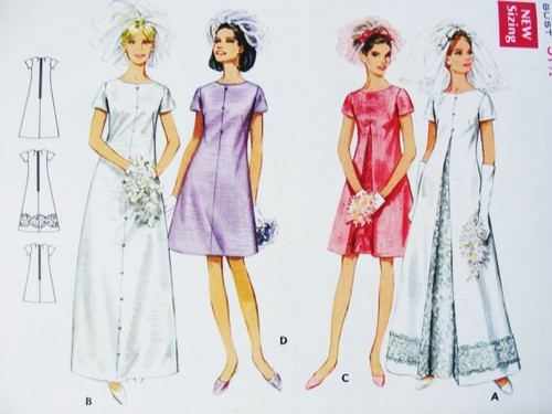 Mod 1960s Lovely Bridal Gown Wedding Dress Bridesmaid Dress Pattern ...