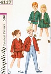 60s Little Brother Sister Pattern Simplicity 4117 Vintage Sewing Pattern Childrens Suspender Skirt Pants Shorts Jacket Size 4 UNCUT