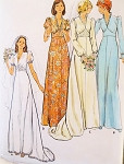 1970s Romantic Bridal Dress Wedding Gown Pattern Butterick 3774 Lovely V Neckline Long Train Version Bust 34 Vintage Sewing Pattern FACTORY FOLDED