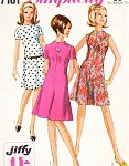 1960s Mod Funnel Neck Dress Pattern Jiffy Simplicity 7161 Flattering Flared Skirt Easy To Sew Bust 32 Vintage Sewing Pattern