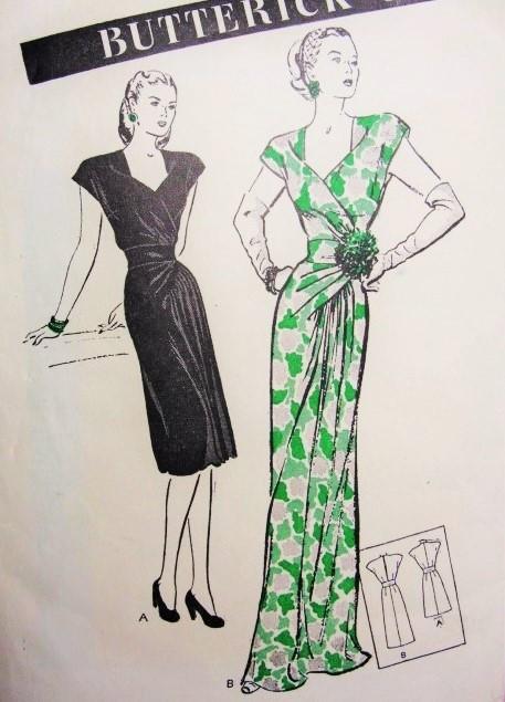 1c90b8cbe1b 1940s Stunning Cocktail Dress Evening Gown Pattern Butterick 3684 ...