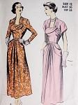 1940s Beautiful Cocktail Party Dress Advance 5223 Unique Neckline Figure Flattering Design Bust 30 Vintage Sewing Pattern
