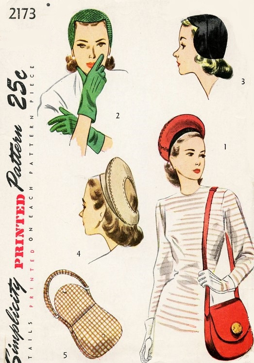 1940s Hats Bag Purse Gloves Pattern Simplicity 2173 Three Hat styles ... 04167d6494b