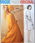 1960s Lovely Yves Saint Laurent Empire Dress Pattern Vogue Paris Original 1690 Vintage Sewing Pattern Very Pretty YSL Design Daytime or Cocktail Party Evening Bust 32