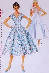 1950s Lovely Dress Pattern Simplicity 4743 V Neckline Fitted Midriff Full Flattering Skirt Rockabilly Day or Party Cocktail Dress Bust 30 Vintage Sewing Pattern