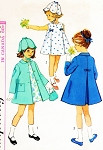 1960s Adorable Little Girls Toddlers Dress,Coat and Petal Hat Pattern Simplicity 5337 Very Sweet Style Size 4 Vintage Sewing Pattern