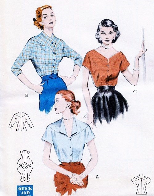 1950s Lovely Quick n Easy Blouses Pattern Butterick 6586 Three ...