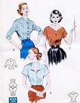 1950s Lovely Quick n Easy Blouses Pattern Butterick 6586 Three Beautiful Blouse Styles Day or Evening Bust 36 Vintage Sewing Patterns FACTORY FOLDED
