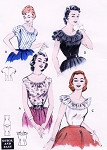 1950s Flirty Peasant Blouses Quick n Easy Pattern Butterick 6927 Four Pretty Summer Styles Bust 34 Vintage Sewing Pattern FACTORY FOLDED