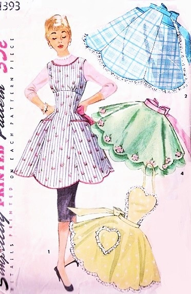 40s Beautiful Aprons Pattern Simplicity 40 Full Bib Empire Apron Enchanting Simplicity Apron Patterns