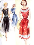 1950s Pretty Dress Pattern McCalls 8507 Peasant Style Neckline Day or Evening Party Dress Sheers or Border Fabrics Bust 30 Vintage Sewing Pattern