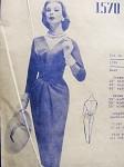 1950s Stunning Draped Sheath Dress Pattern MODES ROYALE 1570 V Neckline Rib Hugging Cummerbund Slim Cocktail Evening Dress Bust 38 Vintage Sewing Pattern FACTORY FOLDED