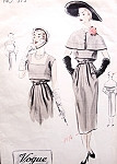 1950s Beautiful Dress and Capelet Pattern VOGUE COUTURIER DESIGN 573 Slim Day or Evening Dress Deep Square Neckline Bust 34 Vintage Sewing Pattern FACTORY FOLDED + Original Label