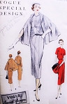 1950s Classy Dress and Cape Coat Pattern VOGUE SPECIAL DESIGN S-4587 Elegant Slim Dress Beautiful Cape Bust 34 Vintage Sewing Pattern