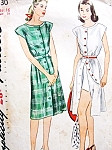 1940s Beach Weekend Wear Pattern Simplicity 1330 Front Button Dress and Shorts WW II Era Vintage Sewing Pattern Bust 34