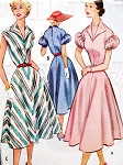 1950s McCalls 8991 Vintage Sewing Pattern Rockabilly Dress Wing Collar Sleeveless or Flirty Puff Sleeves Party Style Bust 30 FACTORY FOLDED