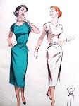 1950s Sheath Dress Pattern BUTTERICK 7378 Striking Notched Neckline Pointed Pockets Wiggle Dress Bust 30 Vintage Sewing Pattern