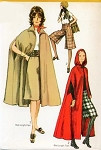 1970s Hooded Cape Regular or Maxi Lengths and Gaucho Culottes Pants Simplicity 9249 Bust 38 Vintage Sewing Pattern UNCUT
