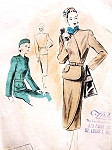 1940s Dramatic Suit Dress Pattern VOGUE COUTURIER DESIGN 358 Fitted Belted Jacket Diagonal Closing Slim Wrapped Front Skirt Classy Style  Bust 30 Vintage Sewing Pattern