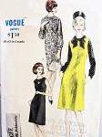 1960s Jumper or Shift Dress and Blouse Pattern VOGUE YOUNG FASHIONABLES 6166 Bust 36 Vintage Sewing Pattern