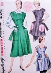 1950s Classic House Dress and Aprons Pattern SIMPLICITY 3717 Button Back Dress Large Pockets Aprons in 2 Styles Includes  Applique Transfer Bust 32 Vintage Sewing Pattern