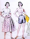 1950s Beach Weekend Resort Wear Pattern BUTTERICK 6970 Perky Blouse Front Wrap Around Skirt Bombshell High Waist Shorts Fun In The Sun Wardrobe Bust 34 Vintage Sewing Pattern UNCUT