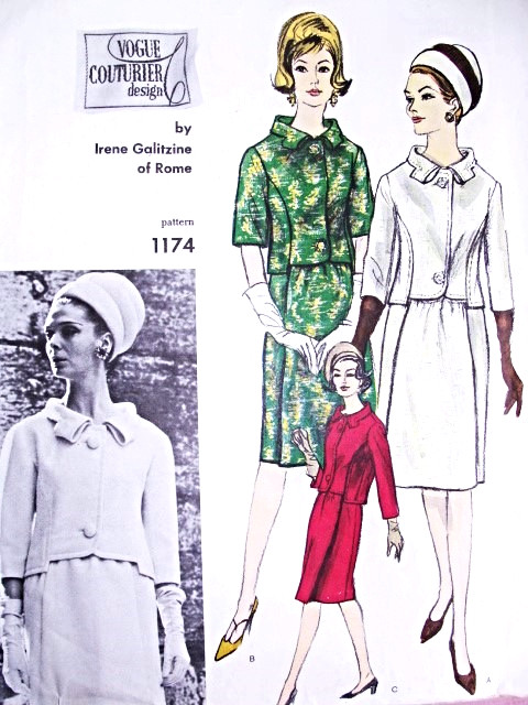 ebbffcecdb8 ... 1960s GALITZINE Suit Pattern VOGUE COUTURIER DESIGN 1174 Pure Elegance  Daytime or Dinner Cocktail Party Bust 31 Vintage Sewing Pattern. Image 1