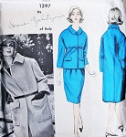 1960s Galitzine Designer Classy Coat and Suit Pattern Vogue Couturier Design 1297 Vintage Sewing Pattern Slim Suit Straight Coat Bust 31