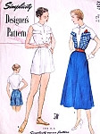 1950s Weekend Beach Wardrobe Pattern SIMPLICITY DESIGNERS 8247 Unique Key Hole Blouse High Waist Shorts and Flared Skirt Perfect Resort Fashions Bust 32 Vintage Sewing Pattern FACTORY FOLDED