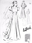 1940s Glamorous Bridal Wedding Evening Gown or Afternoon Frock Dress Pattern Butterick 9352 Swing Style Sweet Heart Neckline, Puff Sleeves Bust 30 Quick n Easy Vintage Sewing Pattern