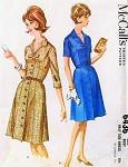 1960s Mad Men Era Coat Dress Pattern McCALLS 6436 Lovely Flattering Style Bust 45 Vintage Sewing Pattern