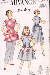 1950s Cute Girls Apron or Poncho Pattern ADVANCE 6586 Size 8 Easy To Sew Vintage Sewing Pattern